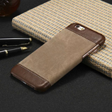 Luxury PU Leather Canvas Brown Wallet Case For iPhone